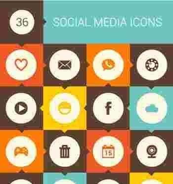 Retro Social Media Icon Set